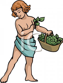 Royalty Free Clipart Image of a Boy Holding a Basket