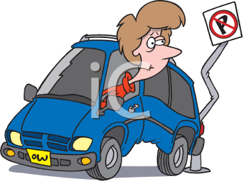 Royalty Free Clipart Image of a Woman in a Car Carsh