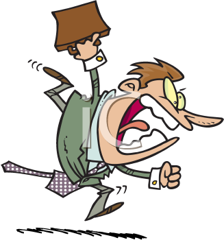 Royalty Free Clipart Image of a Man Running With a Briefcase