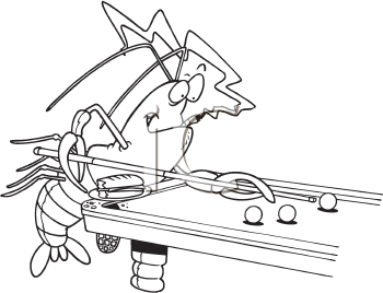 Royalty Free Clipart Image of a Lobster Playing Pool