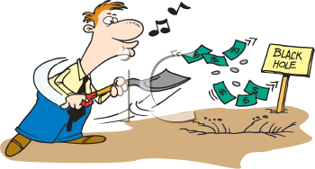 Royalty Free Clipart Image of a Money Shovelling Money Down a Hole