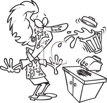 Royalty Free Clipart Image of a Woman With an Exploding Blender
