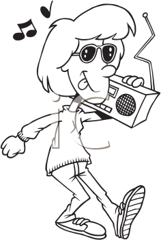 Royalty Free Clipart Image of a Girl Listening to Music