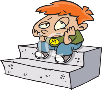 Royalty Free Clipart Image of a Sad Boy on Stairs