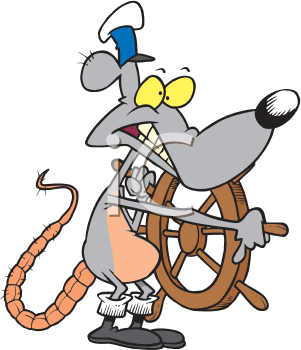 Royalty Free Clipart Image of a Rat Captain