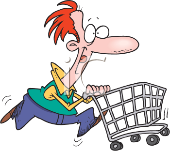 Royalty Free Clipart Image of a Man With a Shopping Cart