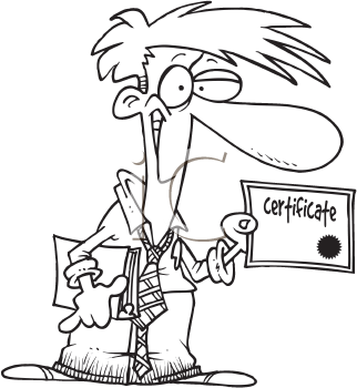 Royalty Free Clipart Image of a Man Holding a Certificate
