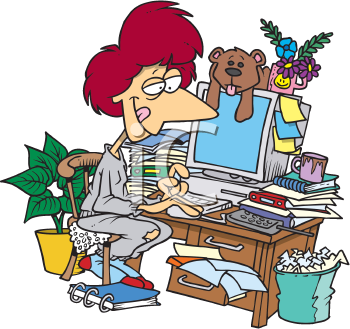 Royalty Free Clipart Image of a Woman at a Cluttered Desk