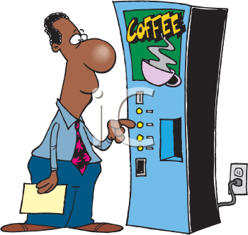 Royalty Free Clipart Image of a Man at a Coffee Machine