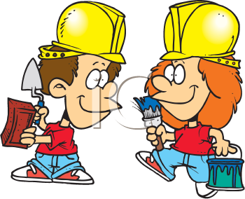 Royalty Free Clipart Image of Young Construction Workers