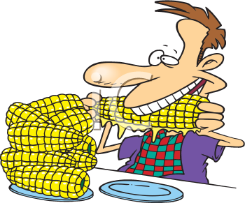 Royalty Free Clipart Image of a Man Eating Corn