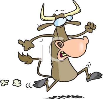 Royalty Free Clipart Image of a Bull on the Run
