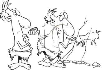 Royalty Free Clipart Image of a Caveman Painting and Another Watching