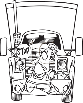 Royalty Free Clipart Image of a Truck Hitting a Crossing Guard