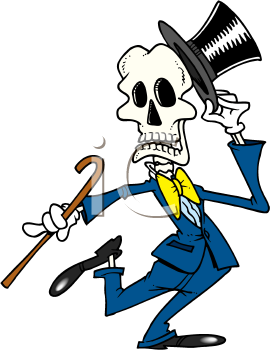 Royalty Free Clipart Image of a Dancing Skeleton