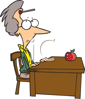 Royalty Free Clipart Image of a Teacher at Her Desk With a Dart on Her Forehead