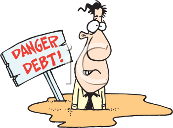 Royalty Free Clipart Image of a Man Stuck in Debt