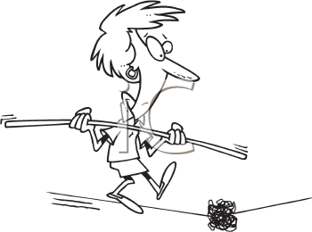 Royalty Free Clipart Image of a Woman Walking a Tightrope Coming Upon a Knot