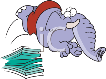 Royalty Free Clipart Image of a Diving Elephant