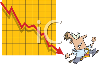 Royalty Free Clipart Image of a Man Running From an Arrow on a Graph