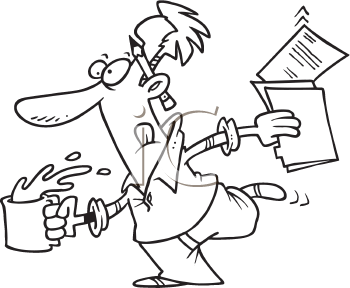 Royalty Free Clipart Image of a Man Running With Papers and a Coffee