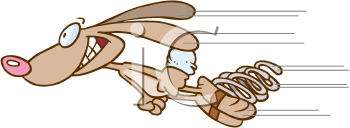 Royalty Free Clipart Image of a Rabbit on Springs