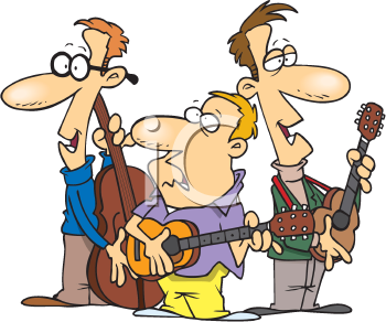 Royalty Free Clipart Image of a Folk Trio