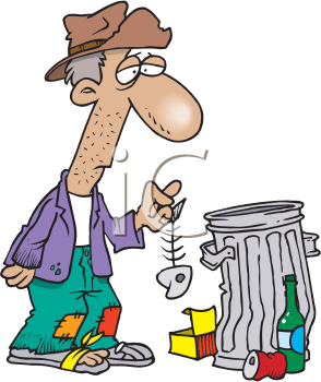 Royalty Free Clipart Image of a Man Rooting Through Garbage