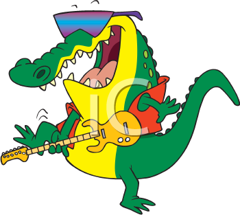 Royalty Free Clipart Image of an Alligator With a Guitar