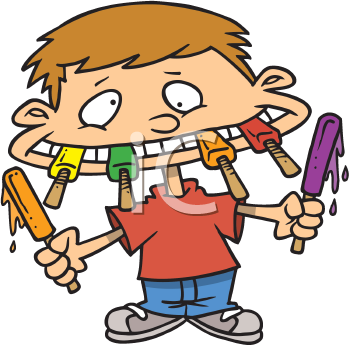 Royalty Free Clipart Image of a Boy With a Mouthful of Popsicles
