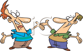 Royalty Free Clipart Image of Two Men Greeting