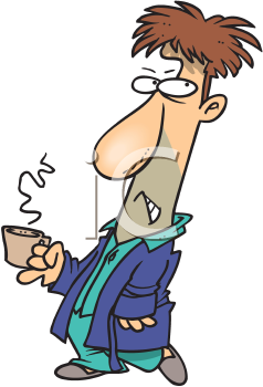 Royalty Free Clipart Image of a Grumpy Man With a Coffee