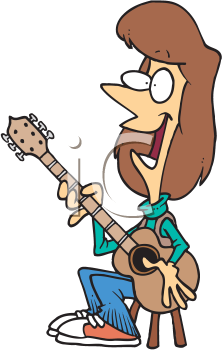 Royalty Free Clipart Image of a Woman Playing Guitar