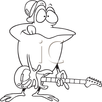 Royalty Free Clipart Image of a Frog Playing Guitar