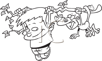 Royalty Free Clipart Image of a Boy Hanging on a Branch With a Monkey