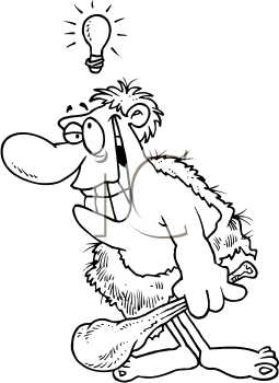 Royalty Free Clipart Image of a Caveman Getting an Idea