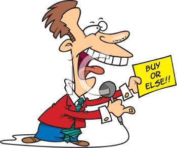 Royalty Free Clipart Image of a Man Doing an Infomercial
