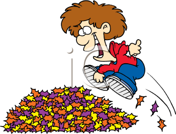 Royalty Free Clipart Image of a Boy Jumping in Leaves