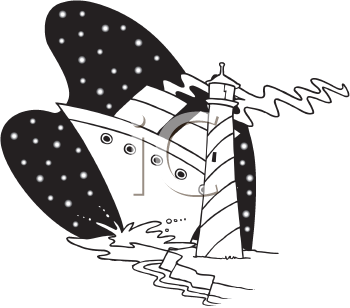 Royalty Free Clipart Image of a Boat and a Lighthouse