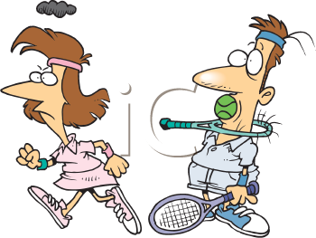 Royalty Free Clipart Image of an Angry Tennis Player With Her Opponent