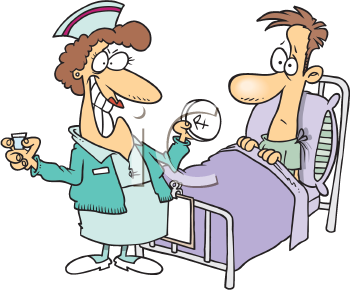 Royalty Free Clipart Image of a Nurse Giving a Patient His Medication