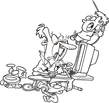 Royalty Free Clipart Image of a Father Looking After Children