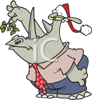 Royalty Free Clipart Image of a Rhino Under the Mistletow
