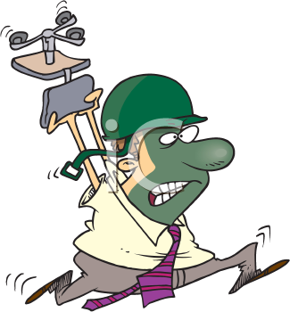 Royalty Free Clipart Image of an Angry Man in a Helmet Carrying a Chair