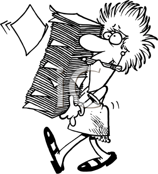 Royalty Free Clipart Image of a Woman With a Lot of Papers