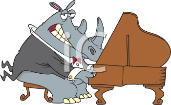 Royalty Free Clipart Image of a Rhino Playing a Grand Piano
