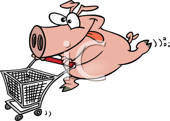 Royalty Free Clipart Image of a Pig Shopper Pushing a Grocery Cart