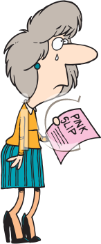 Royalty Free Clipart Image of Crying Woman Holding a Pink Slip