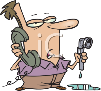 Royalty Free Clipart Image of a Man Holding a Pipe and Talking on the Phone