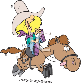Royalty Free Clipart Image of a Girl Riding a Pony
